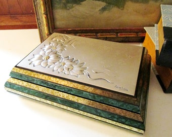 Vintage Ottaviani Italian Sterling and Wood Box, Sterling Plaque Box, Mod Embossed Floral Design, Vintage Gift, Home Office Decor