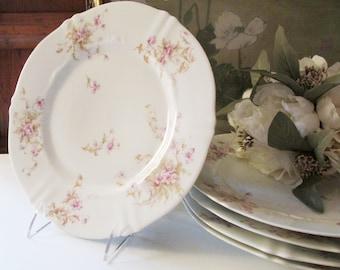 Four Vintage French Haviland Dinner Plates, Romantic Dining, Theodore Haviland France,