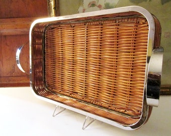 Vintage Godinger Silver and Rattan Tray, Home Office Decor, Bar Cart Decor, Modern Wicker Tray, Gallery Decorative Tray