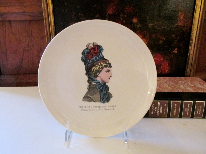 19th Century Fashion Gien France Petit Courrier des Dames Fashion Plate French Fashion Illustration Dessert Plate