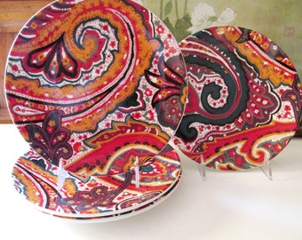 Four Vintage Williams-Sonoma Home Plates, Paisley Designs, Made In Portugal, Dessert Plates,
