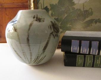 Vintage Art Pottery Vase, Signed Studio Art Vase, Organic Celadon Vase, Impressionist Floral Vase, Boho Pottery Vase, Vintage Gift