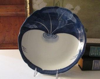 "Vintage Japanese ""Beet"" Plate, Blue and White Decor, Radish Sushi Plate, Oriental Salad Plate, Asian Hallmarks, Gift for Gardener"
