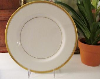"Four Vintage Theodore Haviland, New York Dinner Plates, ""Berkeley"" Pattern, 1950's Elegant Gold Band China, Wedding China, The Gilded Tassel"