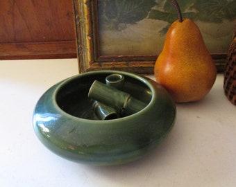 Vintage Candace Studio Pottery Flower Frog, Green Art Pottery Dish, Boho Decor, Designer Signed Ceramic Dish