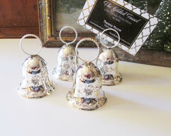 """Four Vintage Towle """"Old Master"""" Silver Plated Bell Place Card Holders, Christmas Silver Bells, Wedding Bells, Dinner Party Decor"""