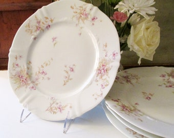 Four Theodore Haviland Limoges Salad or Dessert Plates, French Floral Plates, Romantic China,