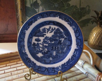 T. Goode & Co. Vintage Blue Willow Plate,Copelands China Chinoiserie Gilded Blue Willow Small Plate, Blue and White Decor, Tea Plate