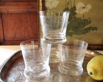 Four Laura Ashley Home Etched Tumblers, Low Ball Glasses, Set of Four Cocktail Glassware, DOF Romantic Glasses, Bar Cart Decor