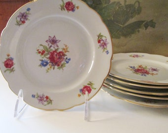 Six Vintage Dessert Plates, Made in Poland, Tea Party Plates, Elegant Dining, Meissen Flowers Style