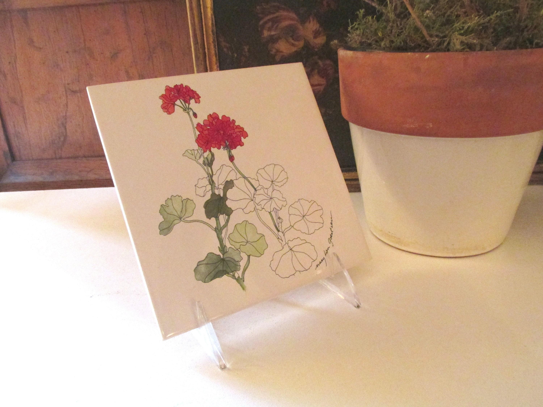 Mary Lou Goertzen Geranium Tile Hot Plate Or Trivet Cork Back Tile Gift For Gardener Plant Saucer Alfresco Dining