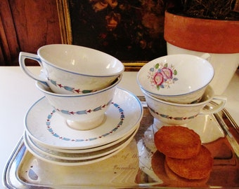 Four Wedgwood Evenlodge Teacups and Saucers, Afternoon Tea, English Ironstone, Romantic China, Cottage Chic