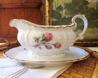 Vintage Edelstein Moss Ross Gravy Boat, Bavaria Germany, Romantic Pink Roses Porcelain Dish, Wedding China