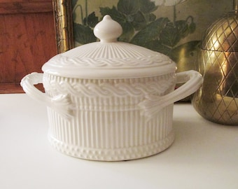 Vintage Italy Made Ethan Allen Biscuit Box, White Ironstone Covered Bowl, Creamware Oval Lidded Box, Cachepot, Grandmillennial Style