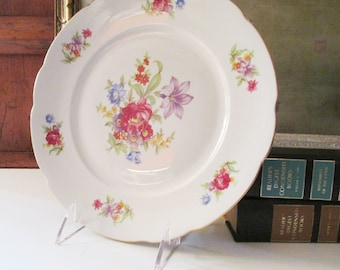 Six Vintage Floral Dinner Plates, Made in Poland, Luncheon Plates, Meissen Style, Gilded Trim Plates