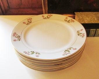Five Vintage Noritake Hakone Luncheon Plates, Dessert Plates, Cottage Chic Dinnerware, Granny Chic, Dessert Tea Plates