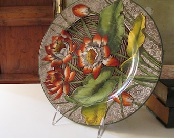 """Antique Wedgwood """"Water-Lilly"""" Plate, Hand Painted Transferware Organic Floral Plate"""