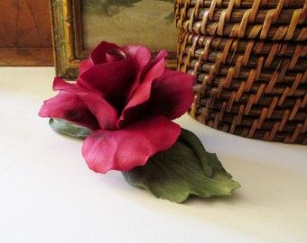 Vintage Capodimonte Porclain Red Rose, Italian Porcelain, Mother's Day Gift, Vintage Gift, Hand Made Porcelain Art