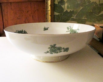 Rosenthal Germany Chinoiserie Porcelain Bowl, Green Bloom, Footed Floral Bowl, Coffee Table Decor, Centerpiece Bowl, Fruit Bowl