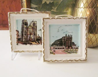 Vintage Pair of Mini Pictures, Gallery Wall Decor, Porcelain Prints, French Chic, Nortre Dame Cathedral
