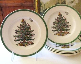 Six Vintage Spode Christmas Salad Plates, Traditional Christmas China, Holiday Dessert Plates, English Christmas