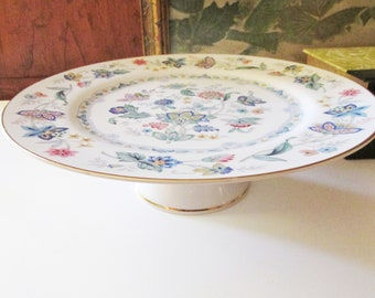 """Andrea By Sadek """" Garden of India"""",  Porcelain Floral Cake Stand, Round Desert Stand, Andrea by Sadek, Footed Cake Plate"""