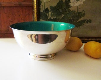Vintage Reed and Barton Footed Teal Green Enamel Bowl, Paul Revere Reproduction, Silver Enamel Bowl, Palm Beach Decor