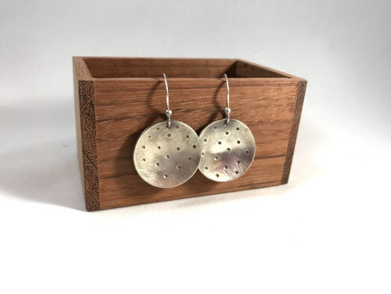 Polka dots. 1 inch convex hammered copper, silver or nugold