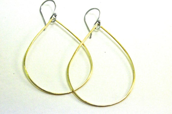 Thin large nugold teardrop dangle earrings