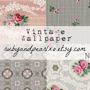 authentic patterns from the 1930/'s digital download No 1950s 15 Vintage  Antique Wallpaper Printables