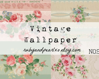 No. 9 Vintage / Antique Wallpaper Printables - digital download - authentic patterns from the 1930's - 1950s