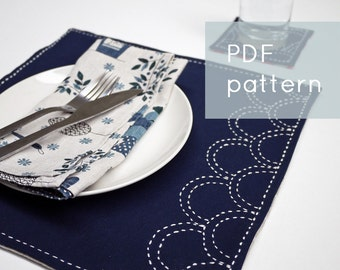 Ocean Waves PDF sashiko pattern - - modern embroidery - - coaster & placemat set