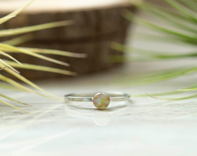 Featured listing image: Light Yellow Opalite Antique Silver Stackable Round Setting Ring Size 7-  Crushed Light Yellow Opalite Gemstone In Resin-Hammered Band Ring