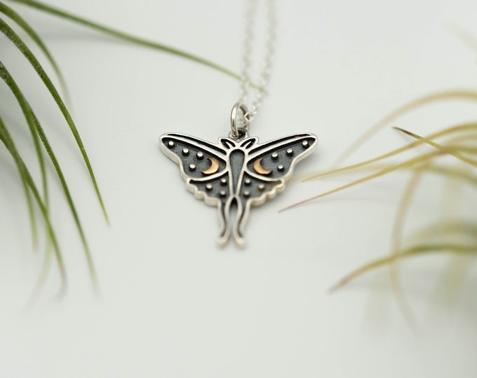 Featured listing image: Luna Moth Sterling Silver Charm Necklace-Artisan Luna Moth Charm With Bronze Crescent Moons-Luna Moth Jewelry