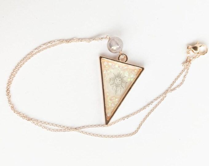 Featured listing image: Mystic Lavender Jade Handmade Resin Sun Pendant Rose Gold Necklace-Crushed Opal and Sun Resin Pendant-Rose Gold Plated Chain Necklace-Sun