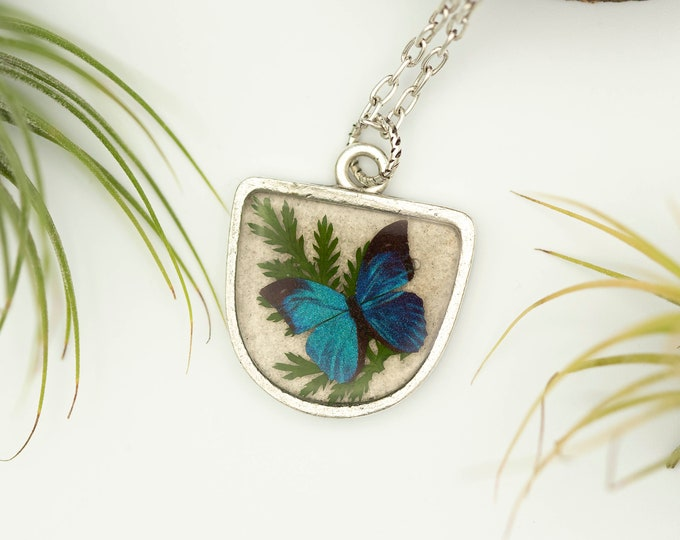 Featured listing image: Blue Morpho Butterfly, Leaf And Moonstone Silver Necklace-Butterfly Pendant-Morpho Rhetenor Butterfly-Moonstone And Real Leaf
