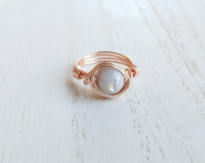Featured listing image: Mother of Pearl Rose Gold Wire Wrapped Ring Size 5
