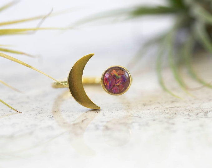 Featured listing image: Purple Opalite Raw Brass Adjustable Moon And Planet Ring-Crushed Opalite Gemstone In Resin-UV Resin-Celestial Ring-Crescent Moon Jewelry