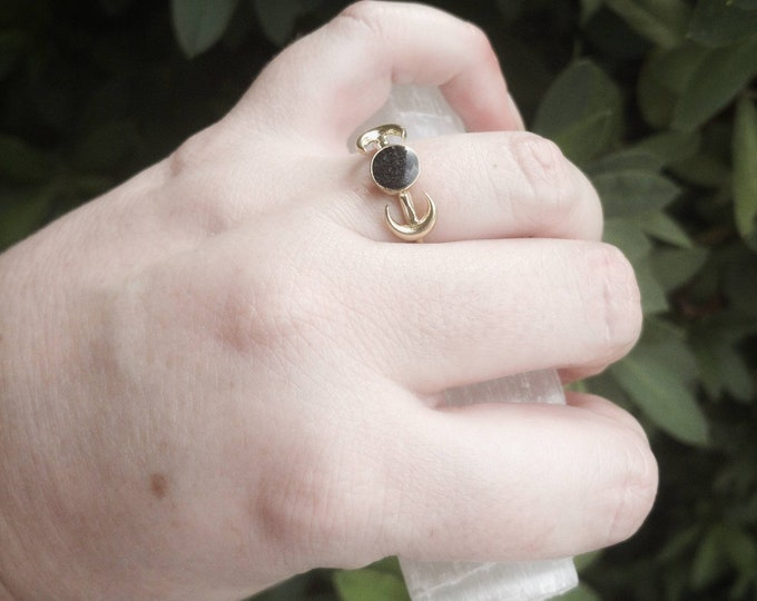 Featured listing image: Hematite Handmade Resin Raw Brass Moon And Planet Adjustable Ring-Crushed Hematite In Resin-Celestial Ring-UV Resin Ring-Raw Brass Ring