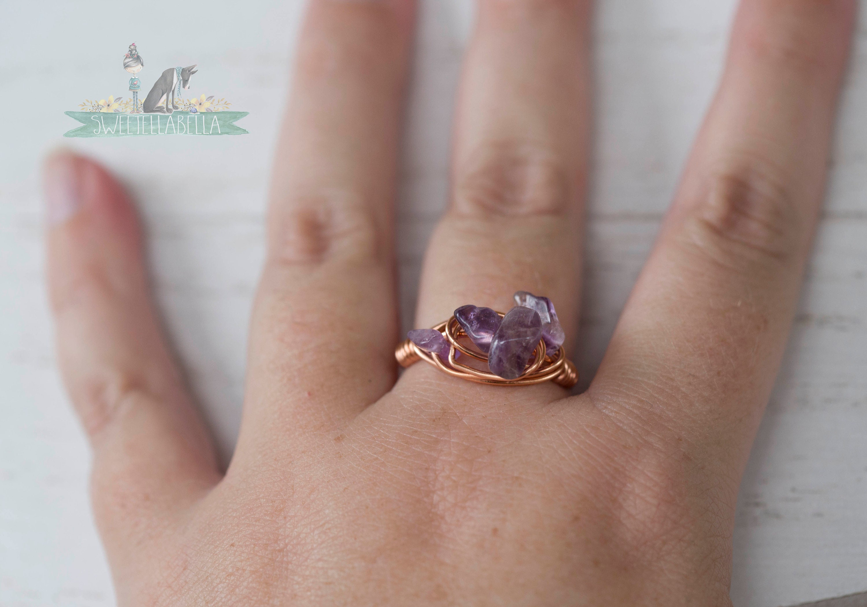 Size 8.75 Electroformed Copper Ring Crystal Ring Amethyst Ring