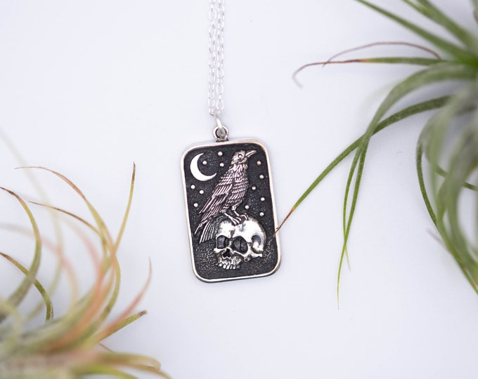 Featured listing image: Raven And Skull Sterling Silver Charm Halloween Necklace, Halloween Jewelry, 925 Sterling Silver, Halloween Gift, Skull Jewelry
