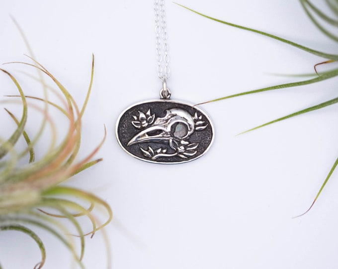Featured listing image: Raven Skull Sterling Silver Oval Charm Halloween Necklace, Halloween Jewelry, 925 Sterling Silver, Halloween Gift, Skull Jewelry