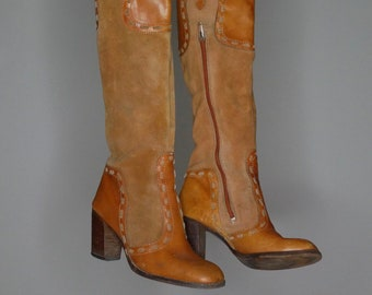 8480e74900e Vtg 70s suede leather below the knee western high heel boots size 7.5