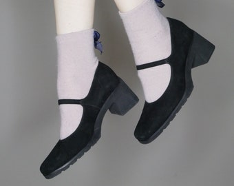 90s goth minimalist black suede Mary Janes strap heels size 6.5-7