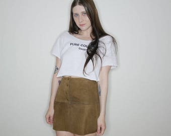 vtg 70s brown suede mini snap up skirt