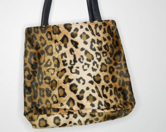 fdaead9c08 90s fuzzy leopard print tote with leather straps