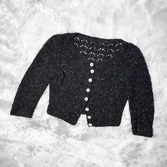 90s grunge speckled knit button semi cropped card… - image 1