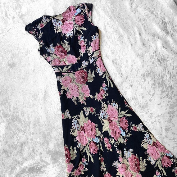 Vtg 90s garden fairy grunge floral print dress by… - image 4