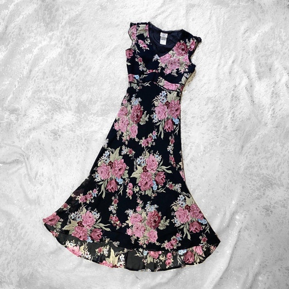 Vtg 90s garden fairy grunge floral print dress by… - image 2