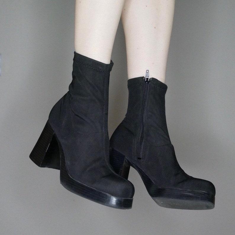 c47bc3cada88 90s goth minimalist black strech platform sock boots size 8